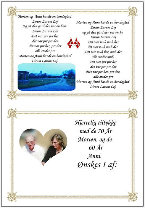 Fødselsdags telegram 60 + 70 år