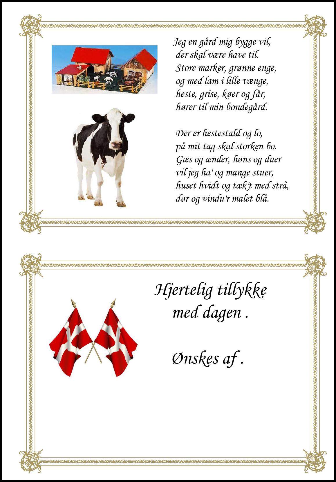 Tillykke telegram med ko