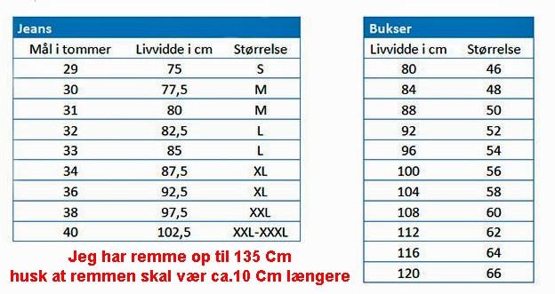 Livvidde herre bælte / Livrem XXXL og større