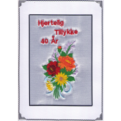 Tillykke telegram 40 år Broderet med blomster
